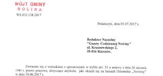 """Wniosek do """"Gazety Codziennej Nowiny"""""""