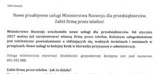 Nowe proaktywne usługi Ministerstwa Rozwoju dla przedsiębiorców