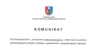 Komunikat Marszałka Województwa Podkarpackiego