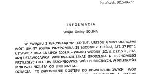 Informacja Wójta Gminy Solina