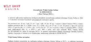 Zarządzenie Wójta Gminy Solina z dnia 9 lutego 2021 r.