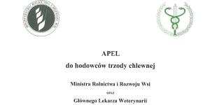 Apel Ministra Rolnictwa i Rozwoju Wsi oraz Głównego Lekarza Weterynarii