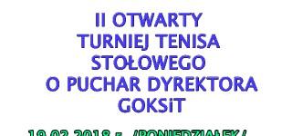 II Otwarty Turniej Tenisa Stołowego o Puchar Dyrektora GOKSiT