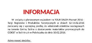 TOUR SALON POZNAŃ 2016 W DNIACH 12-14.02.2016