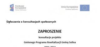 Zaproszenie na konsultacje Gminnego Programu Rewitalizacji Gminy Solina 2016-2022