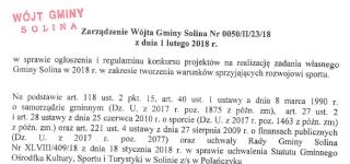 Zarządzenie Wójta Gminy Solina z dnia 1 lutego 2018 r.