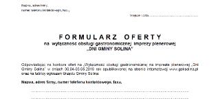 """Nabór ofert na obsługę gastronomiczną imprezy plenerowej """"Dni Gminy Solina"""" 30.04-03.05 2016 r."""