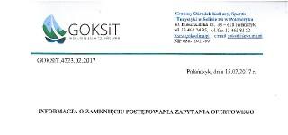 OGŁOSZENIE – ZAPYTANIE OFERTOWE z dnia 1.02.2017 r.