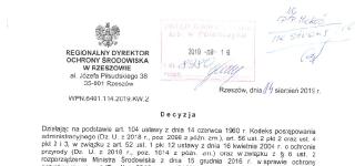 Decyzja Regionalnego Dyrektora Ochrony Środowiska w Rzeszowie