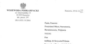 Komunikat Wojewody Podkarpackiego